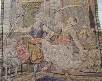 Antique French Tapestry Sultans Dance Of The Swords European Decor Tapestry Wall Hanging ca 1920s
