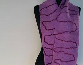 Lilac wet felted fine merino wool scarf 'Lavender Fields'