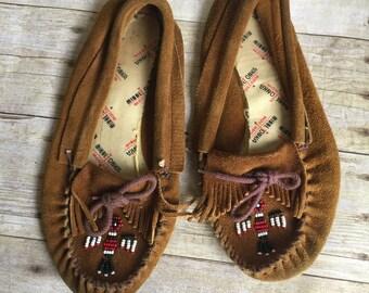 Vintage Moccasins Leather Slip On  Woman's Size 7 - 7 1/2 Minnetonka