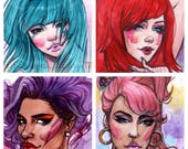 Jem and the Holograms 80's cartoon PINK inspired Watercolor Art Print Carla Wyzgala Carlations