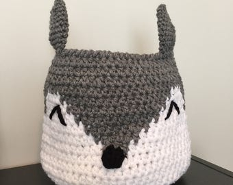 Crochet Fox Basket, Nursery decor