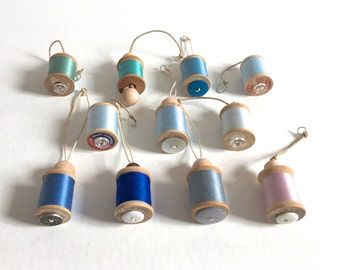 Sewing Ornament - Vintage Thread on Wooden Spool - Blue Green, Blue, and Purple