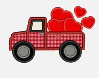 Heart Truck 2...Embroidery Applique Design...Three sizes for multiple hoops...Item1119...INSTANT DOWNLOAD