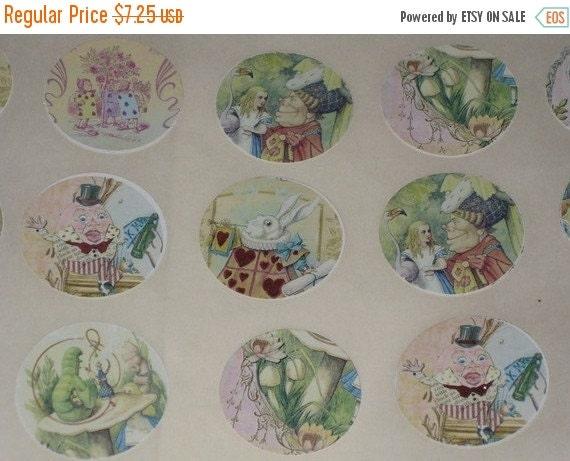 New Year Sale Vintage Alice in Wonderland Sticker Seals Round Vintage Altered with Glimmer for Vintage Glitz