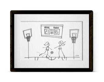 BASKETBALL GIRL 3 Original Illustration