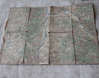 Vintage map - Nevers, France - on linen