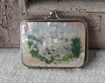 RESERVED--for Sharon----Vintage French mother of pearl souvenir change purse