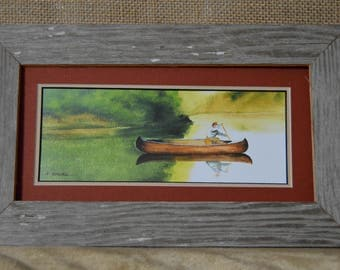 Canoe ride on the Lake Print from watercolor painting (Framed 4x8)