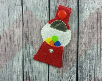 gumball machine quarter holder~Aldi key chain~snap tab~key fob~grocery store coin keeper~purse fob~zipper pull