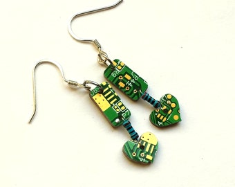 Recycled PCB and Resistor Milled Earrings