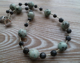 SALE 50% off Larvikite and Sesame Jasper Necklace 20""