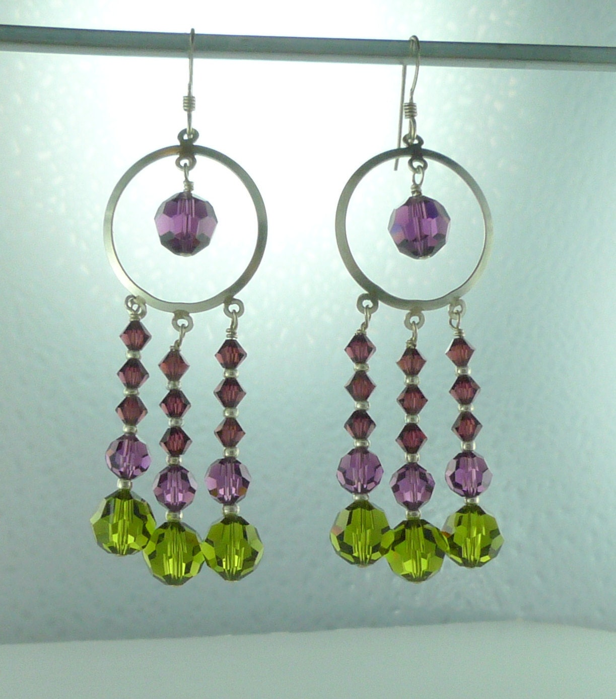 Chandelier earrings olivine amethyst burgundy swarovski crystal chandelier earrings olivine amethyst burgundy swarovski crystal colorful wedding prom sterling silver arubaitofo Choice Image