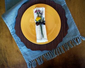 """Rain Blue Fringe Table Runner 15""""x105"""""""