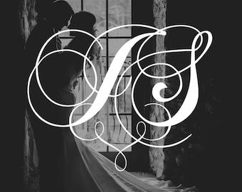 Wedding Monogram, Printable Monogram, Script Monogram, Wedding Initials, JPEG, PDF, Invitation Monogram, Cursive, Calligraphy, Elegant
