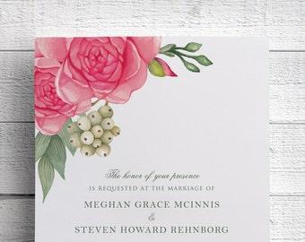 Pink Peony Wedding Invitation, Pink Watercolor Floral Wedding Invitation, Botanical Garden Wedding, Wedding Invite, Spring Wedding, SAMPLE