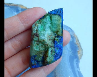 Nugget Chrysocolla Gemstone Pendant Bead,44x25x9mm,16.3g(b0705)