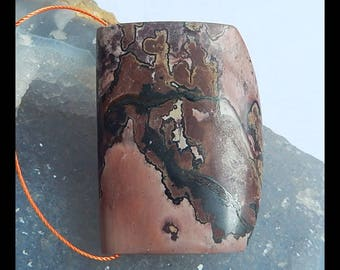 Natural Chohua Jasper Gemstone Pendant Bead,44x32x11mm,30.0g(d0726)
