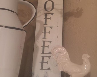 Vertical COFFEE sign, Farmhouse Coffee sign, white sign