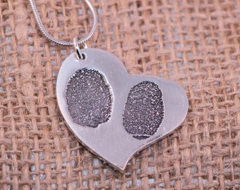 Heart FingerPrints Silver Pendant .