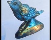 Carved Labradorite Intarsia Bird Gemstone Pendant Bead,73x62x20mm,111.7g