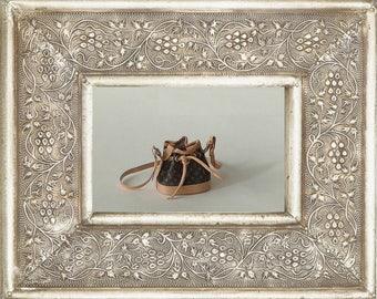 Leather handbag and fabric, design in miniature , le petit Noe