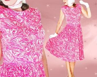 Big Skirt Dress - 50s Spring Day Dress - Vintage Full Skirt Dress - Women's Retro Sleeveless Dress - Jersey Knit Rockabilly Dance Dress