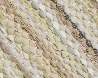 Handwoven, Scandinavian style  vintage look, rag rug -3,18 ' x 7.13' ,white, light beige , cream  tones, ready for sale