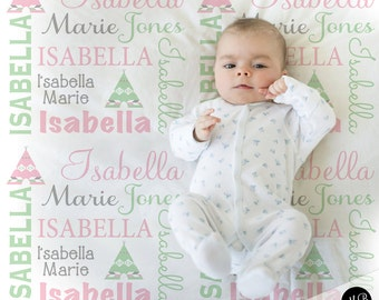 Teepee Baby Blanket in Pink and Mint and Gray, Girl, personalized blanket, custom blanket, baby blanket, personalized blanket, boho blanket