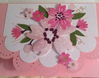 Floral scallop 5 by 7 Card
