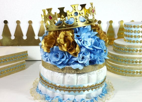 DIAPER CAKE Centerpiece With Crown For Little Prince Baby