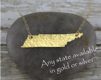 Gold Tennessee Necklace - Gold Tennessee State Necklace - Gold Tennessee Pendant - Going Away Gift - Bridesmaid Gift