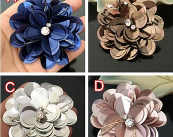 8pcs 7-7.5cm wide silver/navy sequins clothes dress appliques patches brooches 3869 free ship