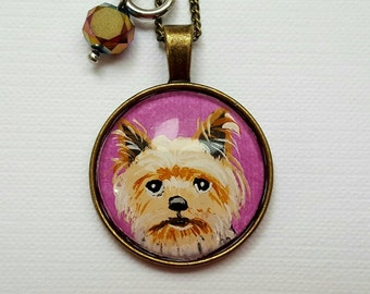 Yorkshire necklace, dog necklace, Valentine's day gift, dog lover gift,  woman jewelry, yorkshire painting, Yorkie dog