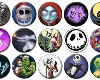 """1"""" - NIGHTMARE BEFORE CHRISTMAS -  Lot of 15 Buttons - Pin Back Button Badge"""