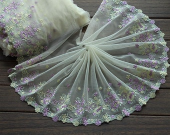 2 Yards Lace Trim Purple Green Floral Embroidered Scalloped Tulle Lace 8.66 Inches Wide High Quality