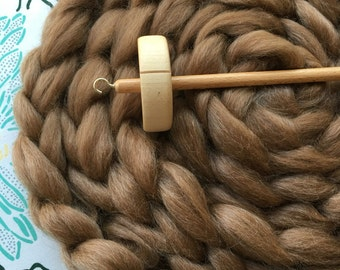 Learn to Spin Drop Spindle Kit with Organic Alpaca-Mohair Roving, Top Whorl Spindle, Natural Colored Fiber, Instructions, Spin Your Own Yarn