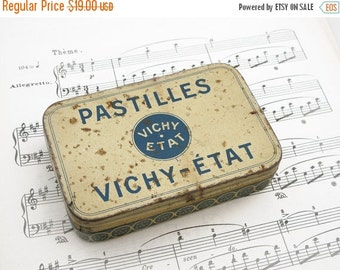 Antique French tin Vichy Etat Pastilles, French tin boxe