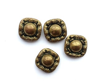 4 Gold Metal Antique French Buttons, 20mm