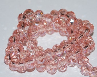 25 pcs 8x6mm Transparent Pale Pink Rondelle Faceted Glass Beads TRP-1