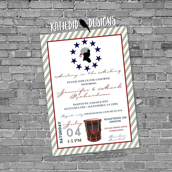 Patriotic baby shower invitation red white due 12127 4th of july backyard BBQ birthday silhouette revolution stars stripes chic invitations