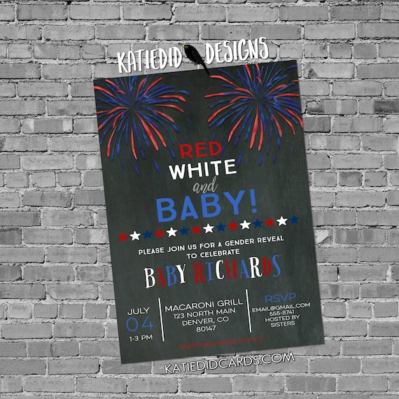 Gender reveal fireworks Patriotic invitations baby shower red white due 4th july birthday bunting banner BBQ party baptism 1478b invitations