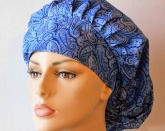 Scrub Hats Blue Paisley- Shimmering Shades of Blue Scrub Hat-Womens Bouffant Scrub Hats-Scrub Caps-Scrub Hats-Accessories-Etsy Scrub Hats