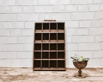 Vintage Box w Dividers | Antique Box | Rustic Storage | Display | Removable Dividers | Shadow Box | Miniatures | Craft Supplies