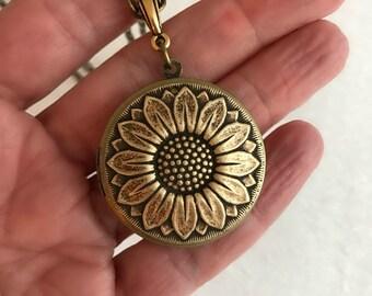 Gold Sunflower Locket Necklace, round brass locket, sunflower necklace, sunflower jewelry, Mother's Day gift, photo locket