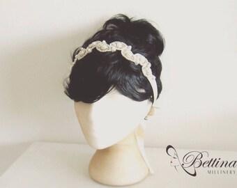 Dreamy days - Pearl and ivory beaded satin sash belt or headband. Handmade by Bettina Millinery.