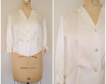 Vintage White Satin Blouse / 1940s Satin Blouse / Quarter Sleeves / Medium