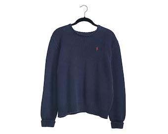 Vintage 90's POLO by Ralph Lauren Dark Navy Blue 100% Cotton V Neck Pullover Sweater - Medium