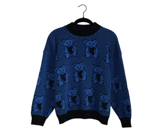 Vintage Adele Knitwear Teddy Bear Hugging Heart Blue & Black Sweater, Made in USA - Medium