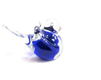 Blown Art Glass Cobalt Blue Bird Figurine ... Bluebird of Happiness Paperweight