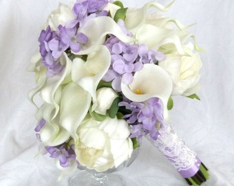 Real touch Calla lily and ivory peony bridal bouquet with lavender silk hydrangea